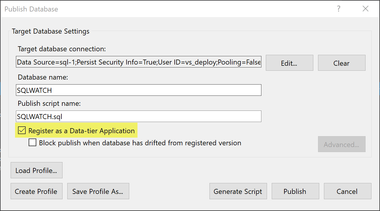 SQL Deploy SQLWATCH Visual Studio Register DACPAC