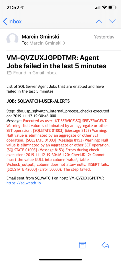 SQLWATCH Agent Job Failure Alert notification