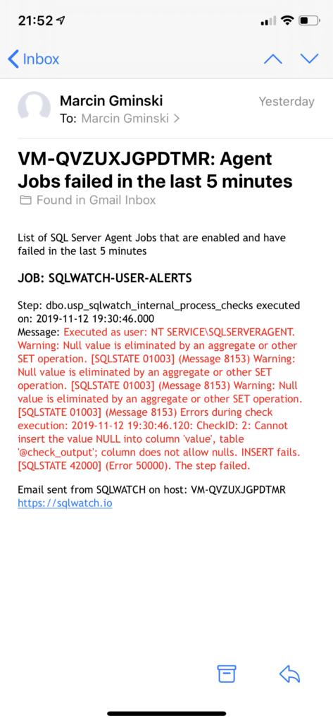 SQLWATCH Agent Job Failure Alert notification