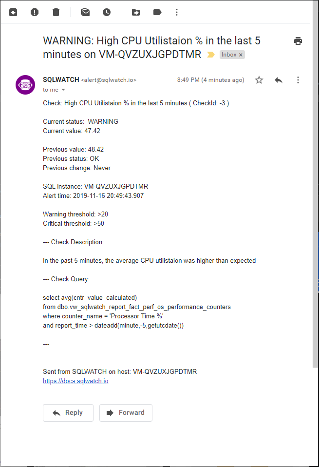 SQLWATCH High CPU Alert simple check notification